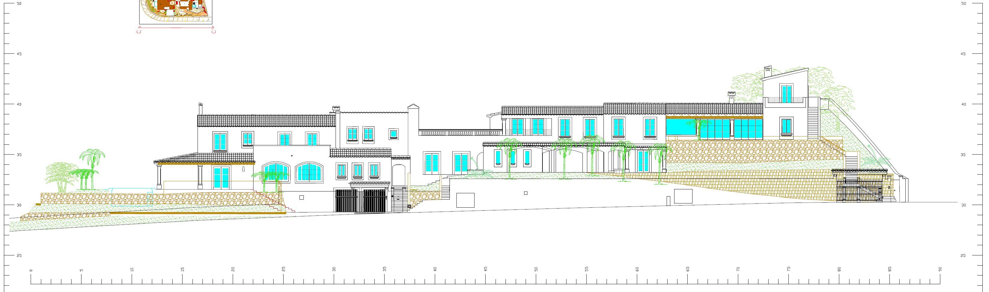 Plano de fachada de unifamiliar en Andratx